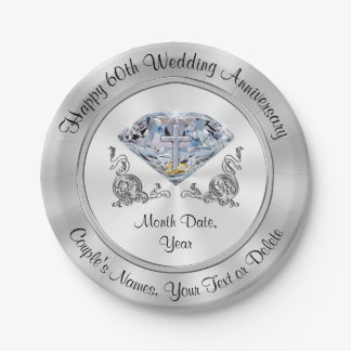 Personalized 60th Anniversary Paper Plates