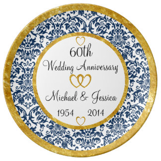 Personalized 60th Anniversary Porcelain Plate
