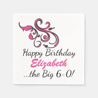 Personalized 60th Birthday Disposable Napkins