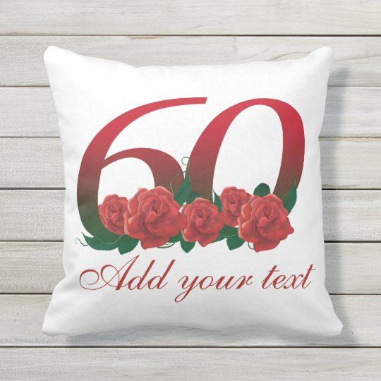 Personalized 60th birthday Outdoor Throw Pillow