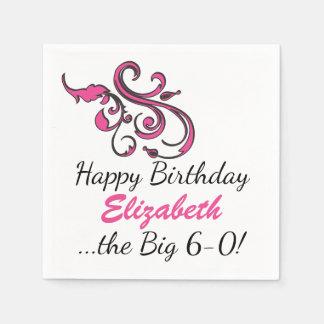 Personalized 60th Birthday Pink Swirls Paper Napkin