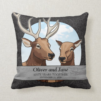 Personalized 60th Wedding Anniversary, Elk Throw Pillow