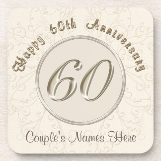 Personalized 60th Wedding Anniversary Gifts Coaster