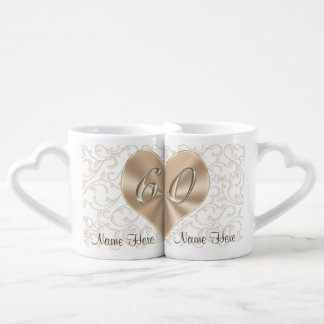 Personalized 60th Wedding Anniversary Lovers Mugs
