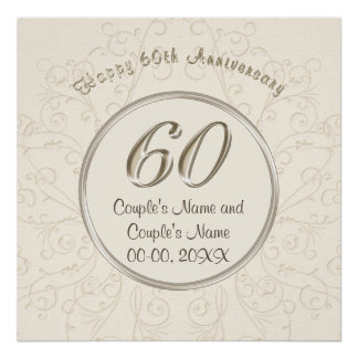 Personalized 60th Wedding Anniversary Posters