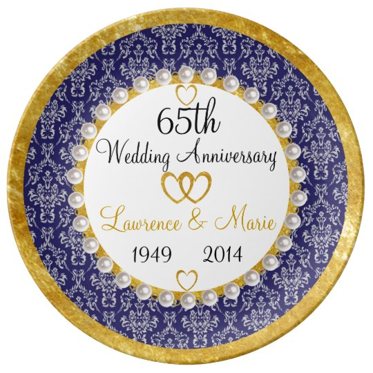 65 Wedding Anniversary Gift: Personalized 65th Anniversary Porcelain Plate