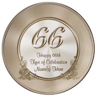 Personalized 66th Anniversary, 66th Birthday Gifts Plate
