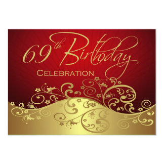 Personalized 69th Birthday Party Invitations