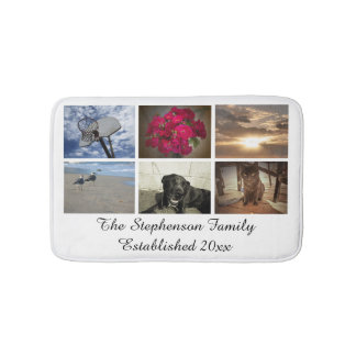 Personalized 6 Photo Mosaic Picture Collage Bath Mat