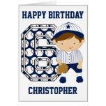 Personalized 6th Birthday Baseball Catcher BW Greeting Card