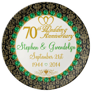 Personalized 70th Anniversary Porcelain Plate