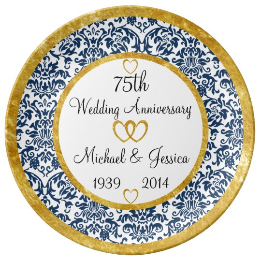 Personalized 75th Anniversary Porcelain Plate