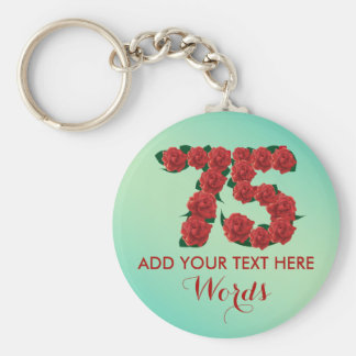Personalized 75th birthday 75 anniversary Keychain