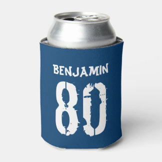 Personalized 80th Birthday Blue Can Cooler