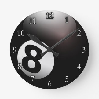 Personalized 8 Ball Billiards Round Clock