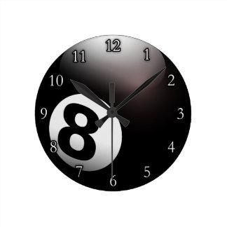 Personalized 8 Ball Billiards Wall Clocks