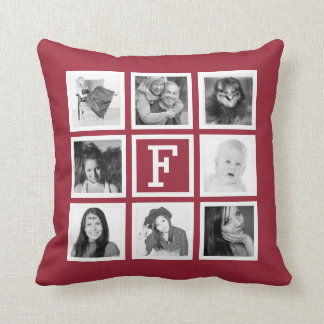Personalized 8 Instagram Photos and Monogram Wine Throw Pillow