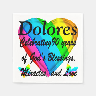 PERSONALIZED 90TH BIRTHDAY LOVE HEART NAPKINS PAPER NAPKINS