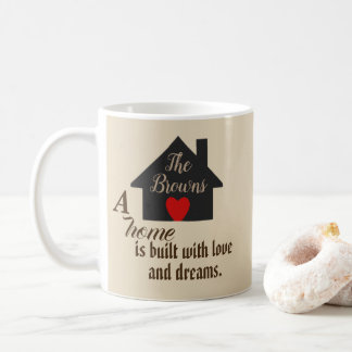 Personalized A Home is Built with Love & Dreams Coffee Mug