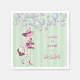Personalized About to Pop Girl Baby Shower Paper Napkin