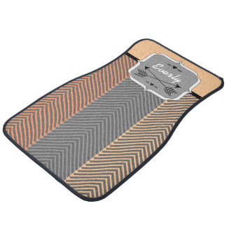 Personalized Abstract Arrows Gray Peach Car Mat