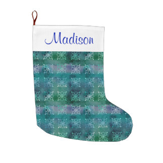 Personalized Abstract Blue Green Snowflakes Large Christmas Stocking