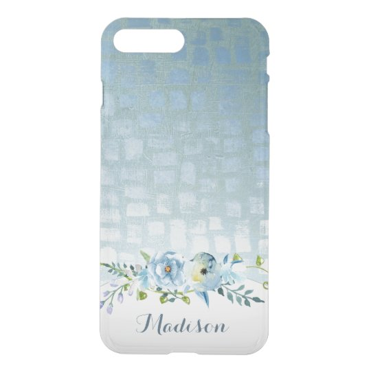 Personalized Abstract Blue Watercolor Floral iPhone 8 Plus/7 Plus Case