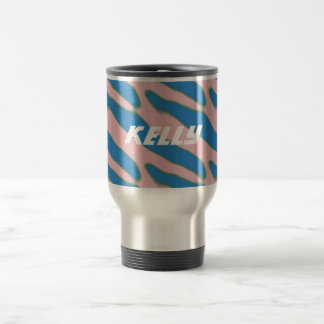 Personalized Abstract Print Girly Pink Blue Kelly Travel Mug