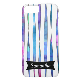 Personalized Abstract Purple Watercolor Streamers iPhone 7 Case