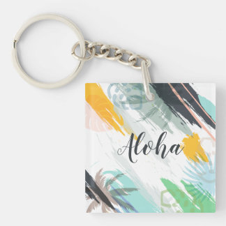 Personalized Abstract Tropical | Keychain