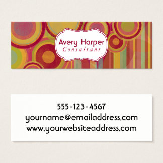 Personalized Abstract with Red, Greens, Yellows Mini Business Card