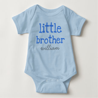 Personalized Add a Name Blue Text Little Brother Baby Bodysuit