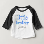 Personalized Add a Name Blue Text  Little Brother T-shirts
