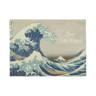 Personalized add your name Great Wave Hokusai Doormat