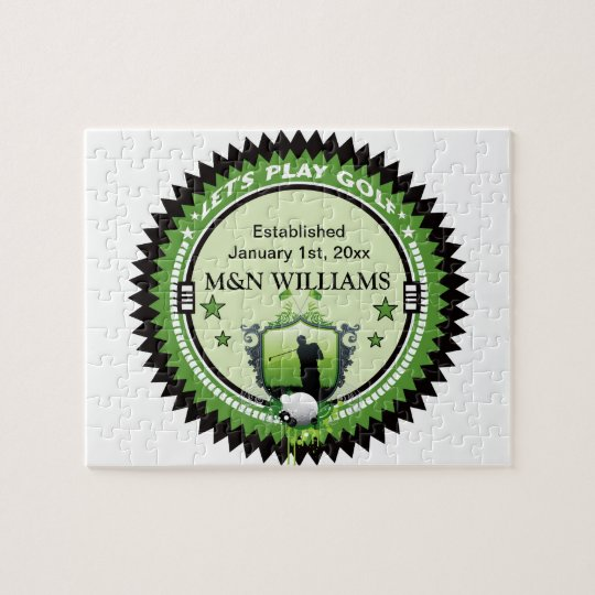 Personalized Add Your Name Play Golf Logo Jigsaw Puzzle