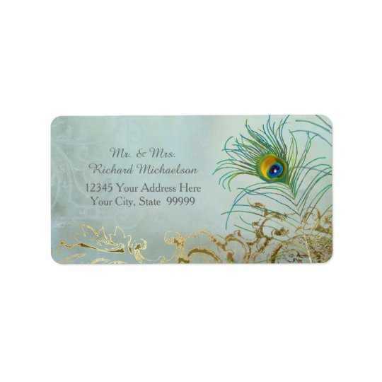 Personalized Address Elegant Peacock Feathers Art Label