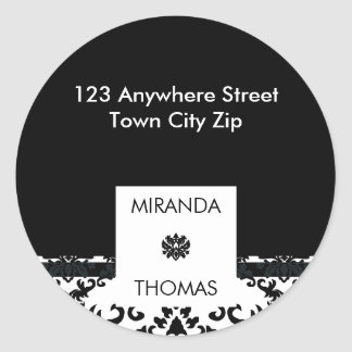 PERSONALIZED ADDRESS LABEL :: damask colors 10B
