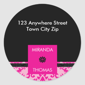 PERSONALIZED ADDRESS LABEL :: damask colors 2B