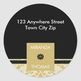 PERSONALIZED ADDRESS LABEL :: damask colors 3B