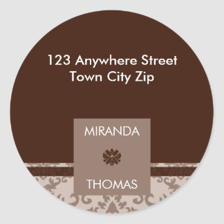 PERSONALIZED ADDRESS LABEL :: damask colors 5B