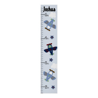 Personalized Adorable Airplanes Growth Chart Poster