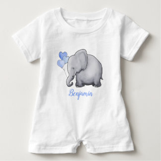 Personalized Adorable Blue Hearts Balloon Elephant Baby Romper