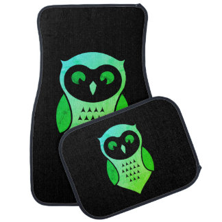 Personalized Adorable Green Hoot Owl Car Liners