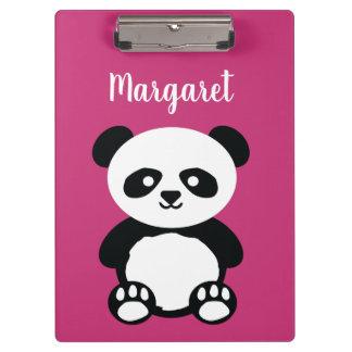 Personalized Adorable Panda Bear Girls Pink Kids Clipboard