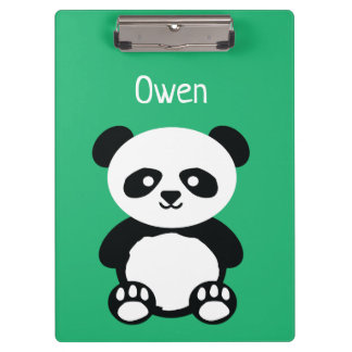 Personalized Adorable Panda Bear Green Kids Clipboard