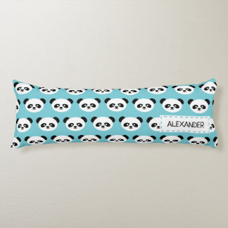 Personalized Adorable Panda Bear Pattern Blue Kids Body Pillow