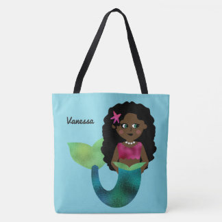 Personalized African American Mermaid Faux Foil Tote Bag