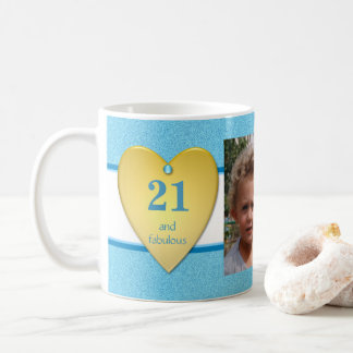 Personalized age 21st Birthday Photo blue Coffee Mug