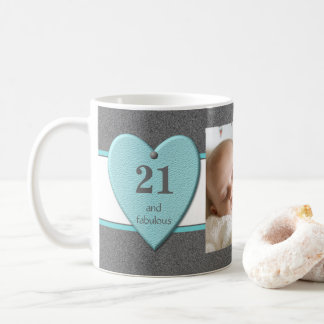 Personalized age 21st Birthday Photo turquoise Coffee Mug