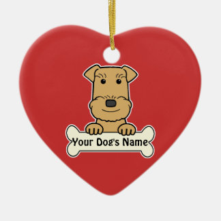 Personalized Airedale Terrier Ceramic Heart Ornament
